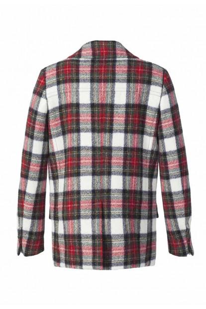 Roda giacca doppiopetto scozzese rosso